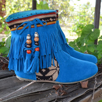 Winnie May May Moccasin Fringe Teal Blue Boots