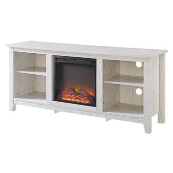 Whitewash 58-inch TV Stand Electric Fireplace Space Heater (Free shipping within the contiguous U.S,)