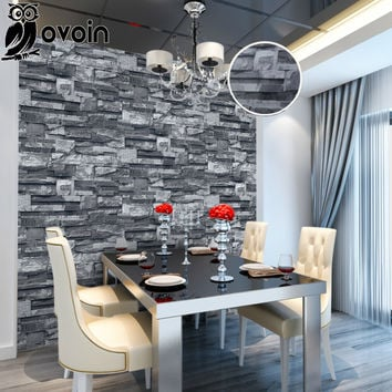 Grey Black Rustic Vintage 3D Vinyl Brick Wall Wallpaper Roll Embossed Texture Photo Faux Stone Effect Wall Paper Home Decor 10M