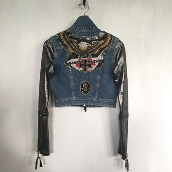 Customized Vintage Levis Denim + Leather Biker jacket Harley Davidson jacket Black Sabbath Skull patches cropped jacket biker chick small