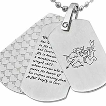 Cupid Design Triple Dog Tags Stainless Steel Necklace