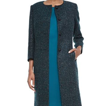 Metallic Tweed Coat & Solid Dress, Size: