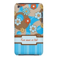 Whimsical Spring Flowers and Stripes Barely There iPod Cases from Zazzle.com