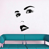 Wall Decals Woman Girl Eyes Joy Face Fashion Vinyl Decal Sticker Home Interior Design Art Mural Living Room Bedroom Beauty Salon Decor MN477