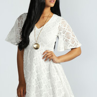 Lucy Angel Sleeve Flower Lace Skater Dress