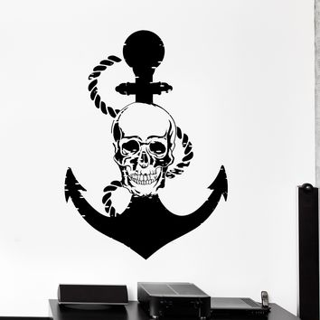 Wall Vinyl Decal Anchor Skull Pirate Ship Marine Decor Unique Gift z3977