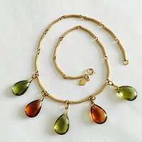 Vintage Sarah Coventry Mesh Link Choker Necklace with 5 Teardrop Pear Shaped Faceted Crystals in Brown and Green