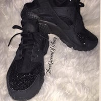 Black crystal Nike Huaraches swarvoski crystals, womens huaraches, huarache bling, crystal huaraches
