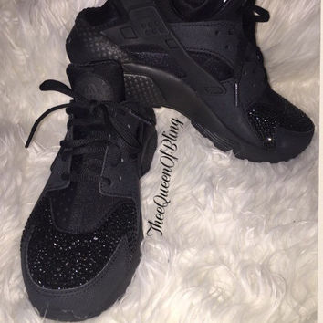 Black crystal Nike Huaraches swarvoski from TheeQueenOfBling on 14b07c154450