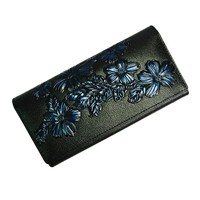 Genuine Leather Women Wallets Vintage Famous Brand Design Card Holder Purse Flowers Embossment Long Clutch Bags High Quality