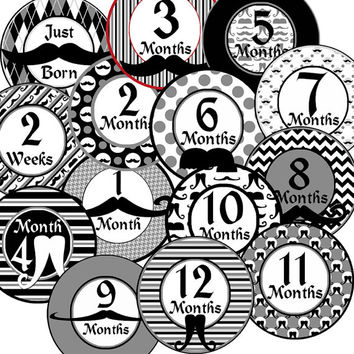 14 Mustache Old Fashioned Vintage Baby Boy Monthly Milestone Onesuit Stickers Newborn Shower Gift
