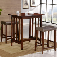 Cherry Finish 3-Piece Counter Height Dining Table & Chairs Set