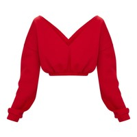 Red Crop Off Shoulder Sweater
