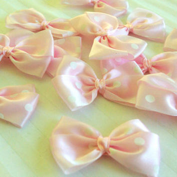 12 Baby PINK Craft Bow with White Pokka Dots - 6cm wide