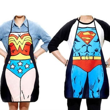2Pcs/lot Funny Novelty  Dinner Party Superman Cooking Apron Wonder Woman Men = 1946848516