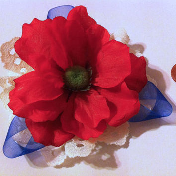 Rustic Patriotic Flower Clip, Floral hair accessories, red flowers, 4th of July, memorial day, patriotic accessories, flower bows, lace,