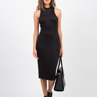 High Neck Body Con Dress - Black