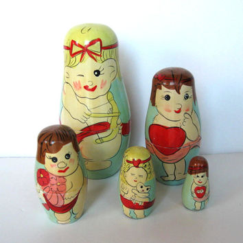 Vintage Valentine Cupids Nesting Dolls, Toys, Home Decor, Retro Collectible, gift idea