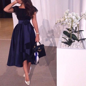 Navy Blue Tea Length Cocktail Dresses Lace Bodice Sleeveless Satin Formal Party Dress Gowns