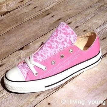 Lace Converse Shoes Low rise / Beach Converse / Wedding converse / customised converse