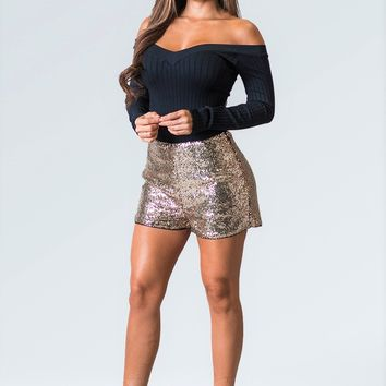 Sequin Shorts With Lining