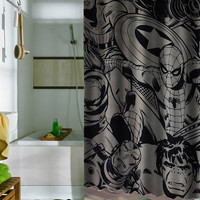 marvel super heroes comics character shower curtains