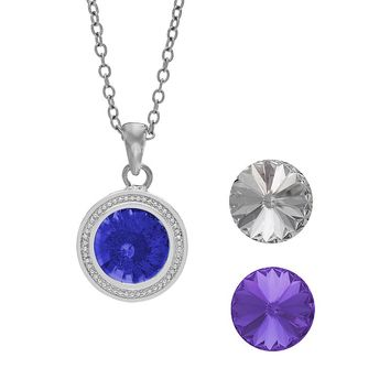 Charming Inspirations Interchangeable Crystal Pendant Necklace Set - Made with Swarovski Elements (White)