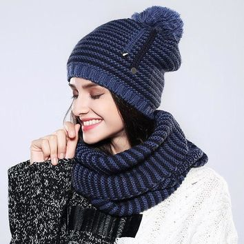 Knitted Hat And Scarf Set Multiple Colors