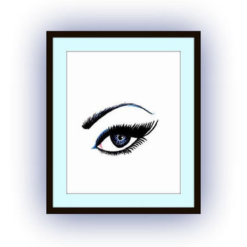 Girl Eyes watercolor painting art, decal, Printable vanity Wall decor, decals, fashion, feminine illustration, Aishwarya Rai  lashes, poster