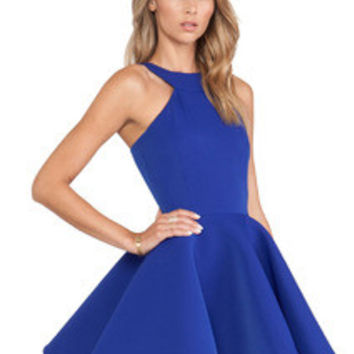 Fall Fashion Blue Sleeveless Halter Flare Dress