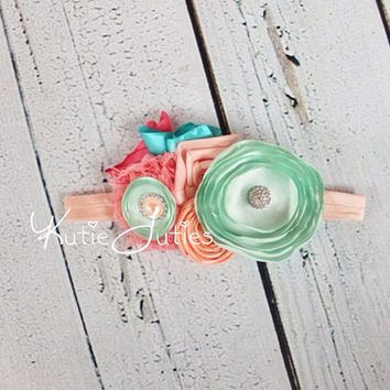 Peach, Mint & Coral Headband- Turquoise, Flower girl, Birthday, Sash, Flowers, Rhinestones, Wedding, Baby Girl, Newborn,