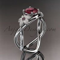 14kt white gold diamond leaf and vine birthstone ring ADLR90 Garnet - January\'s birthstone