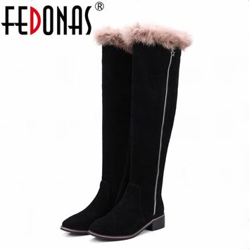 FEDONAS Women Full Suede Knee High Boots Autumn Winter Warm Over The Knee High Boots Genuine Leather Rabbit Fur Shoes Woman