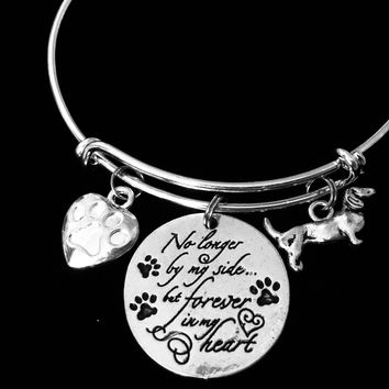 Dauchund Dog Memorial Jewelry No Longer By My Side but Forever in My Heart Adjustable Bracelet Silver Expandable Charm Bangle Animal Lover One Size Fits All Gift Paw Print