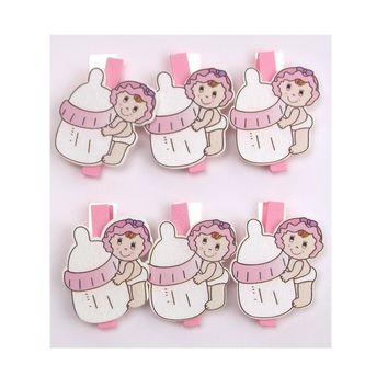Milk Bottle Baby Wooden Clothespins Favors, 2-Inch, 6-Piece, Pink