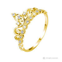 Dainty Yellow Gold-plated Sterling Silver Princess Crown Ring - AZDBR5456GP-DN