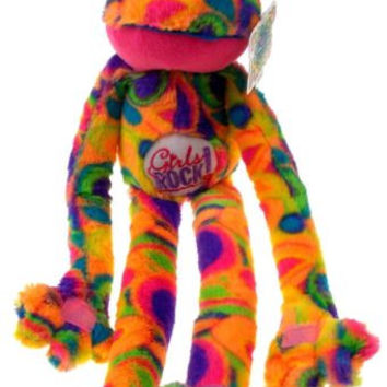 Peace and Love Frog Girls Rock Rainbow Hanging Soft Plush Embroidered NEW