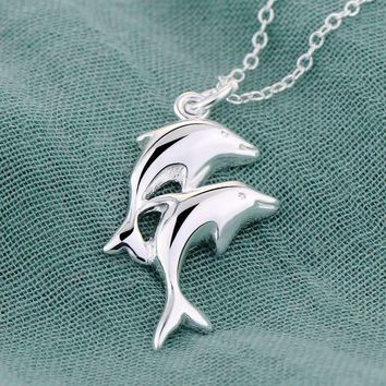 Double Dolphin Sterling Silver Necklace