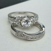 Sterling Silver 925 CZ Engagement Ring Wedding Band Set, Size 8
