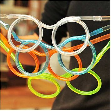 FREE SHIPPING Creative Funny Soft Glasses Straw Unique Flexible Drinking Tube Kids Party Accessories Random Color