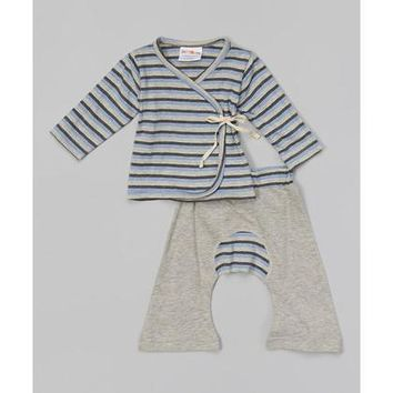 Blue Grey Stripes Baby Kimono Set