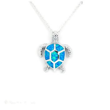 Sterling Silver Blue Opal Sea Turtle Pendant Necklace