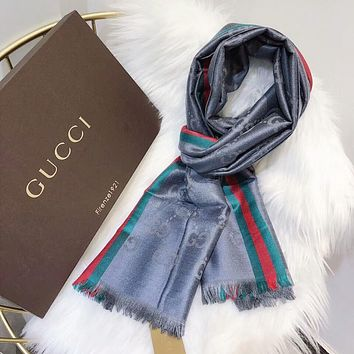 GUCCI New Popular Women Men Cashmere Smooth Silk Tassel Cape Scarf Scarves Shawl Accessories