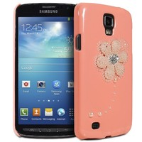 Fosmon GEM Series 3d Bling Flower Design Case Cover for Samsung Galaxy S4 Active - AT&T / I9295 / SGH-I537 (Peach)