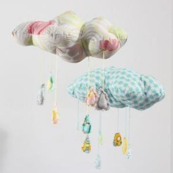 Petite Fabric Cloud Mobile Raindrops keep falling on by babyjives