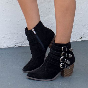 Walk That Walk Black Buckle Booties