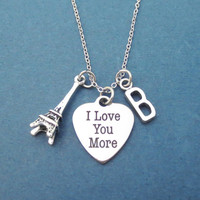 Personalized, Letter, Initial, I Love You More, Paris, The Eiffel Tower, Silver, Necklace, Birthday, Lovers, Friendship, Gift, Jewelry