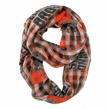 Cleveland Browns Scarf Infinity Style Plaid Design