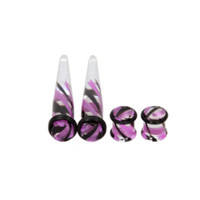 Morbid Metals Purple And Black Swirl Plug And Taper 4 Pack