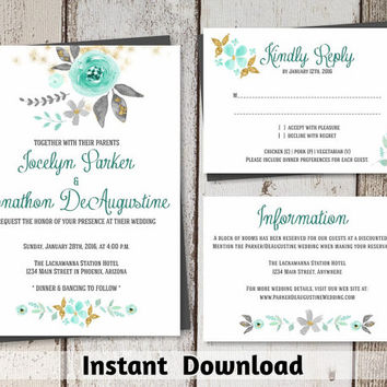 Wedding Invitation Template - Printable Set | Romantic, Rustic Mint Green / Seafoam & Gold Glitter Flowers | Editable PDF Instant Download